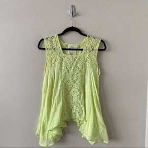 Free People One -Neon Yellow Lace High Low Top